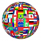 World globe made of flags